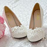 JINGXINSTORE Pearl White Lace boda flor Zapatos de novia de tacón alto plataforma plana,UK5/EU38/US7/AU7,8cm/3.1'