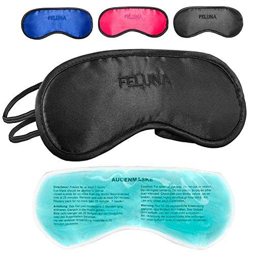 Felunda Schlafmaske mit Kühlkissen Schlaf Augenmaske Nachtmaske Schlafbrille mit verstellbarem Gummiband und Seiden-Touch Kühlpad hilft bei Migräne, Kopfschmerzen & Allergien