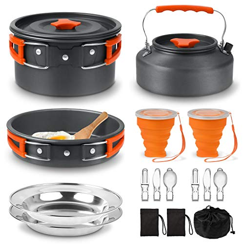 18PCS Outdoor Ultralight Camping Cookware Mess Kit with Kettle, Pot, Pan, 2 Plates, 2 Foldable Cups 2 Fork Spoon Kits, Lightweight Camping Cooking Set...
