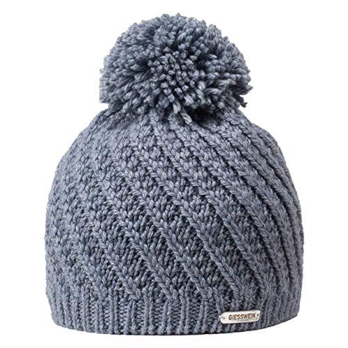 GIESSWEIN Strickmütze Zellerwand – warme Mütze aus Merino Wolle, weiche Beanie mit Innenfleece, Grobstrick Winterhaube mit Bommel, Bommelmütze für Damen mit Fleece Futter