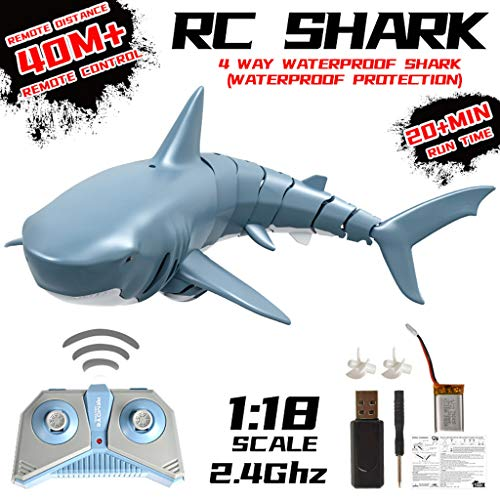 Remote Control Shark, Durable 4 Channel Underwater Toy Newest Simulation Shark Kids Water Swimming Toys Best Gift for Kids, Radio Remote Control Electronic Shark Fish Boat (13.4 x 5.5 x 3.5inch)
