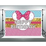 Cartoon Doll Girls Toy Backdrop Bowknot Pink Striped Polka Dot Photo Background 10x7ft Cake Table Banner Photo Props LSGE1214