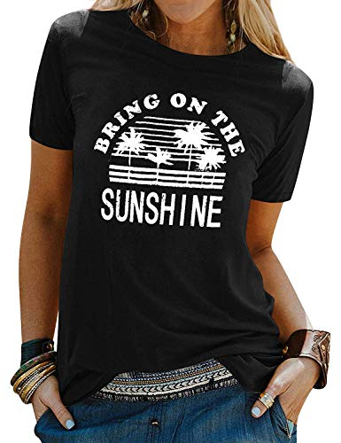 FEMLE Mujeres Bring ON The Sunshine Camisetas con Estampado Tops Manga Corta Camisas con Estilo