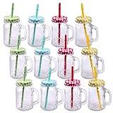 Schramm® Pack de 12 Vasos con Tapa, asa y Pajita Vasos de Cristal con...
