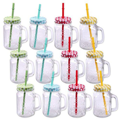 Schramm® 12 Stück Trinkgläser mit Deckel, Henkel und Mehrweg- Strohhalm (iii) Trinkhalm wiederverwendbar Glas Gläser Trinkglas Cocktail ca. 500ml