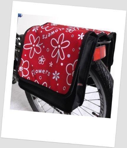 Kinder-Fahrradtasche Joy Satteltasche Gepäckträgertasche Fahrradtasche 2 x 5 Liter: Farbe: 25 Flower Red 2