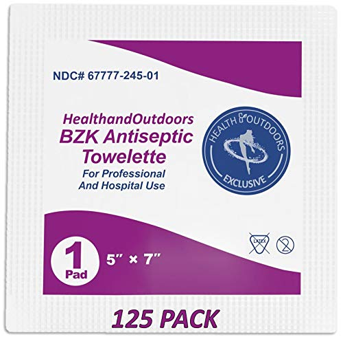 """BZK Antiseptic Moist Towelette 5"""" x 7"""" Wipe (125 Count) Hand & Body Cleansing Wet Napkins Alcohol-Free Individually Wrapped Towels"""