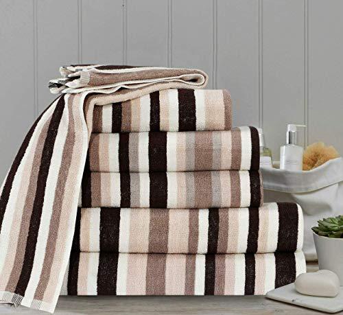TheWhiteWater Royal Victorian Stripe Handtuch, 100{ecee8b41ca04d27deae9adc02e006a9048b5e68a656b58fe88305acb2d117c3d} Flauschige Baumwolle, gestreift, gestreift, braun, Handtuch