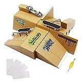 icoko Skate Park Kit, 8 PCS Skate Park Kit Ramp for Mini Finger Skateboard Ultimate Parks Training Props with 3 Finger Skateboard and 4 Silicone Mat Set