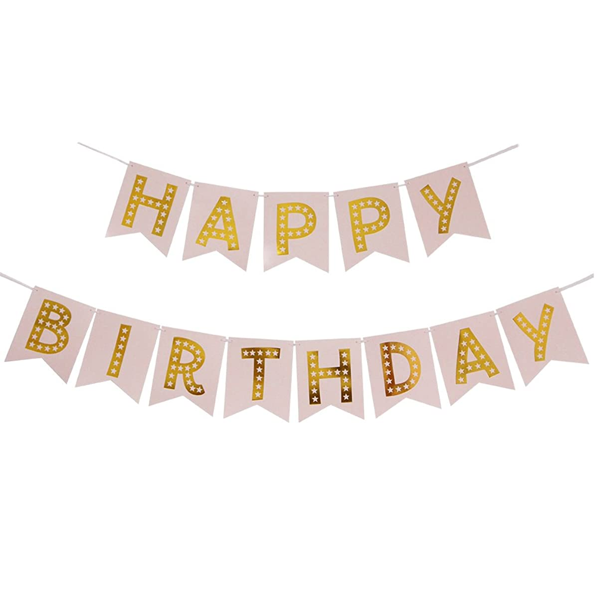 INNORU Happy Birthday Banner Pastel Pink and Gold Foiled Party Bunting Supplies
