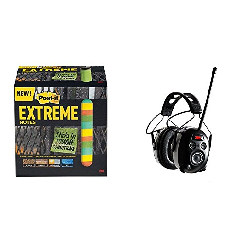Post-it Extreme Notes, 3 in x 3 in, 12 pads, 45 sheets per pad, Green, Yellow, Orange, Mint (EXTRM33-12TRYX) Bundle with 3M WorkTunes Wireless Hearing Protector with Bluetooth Technology and AM/FM Digital Radio (90542-3DC)