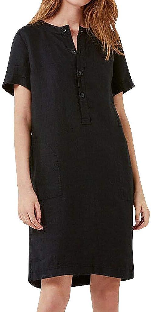 TOPUNDER Womens Summer Short Sleeve Linen Dress Loose A-line Party Sundress Button Dress