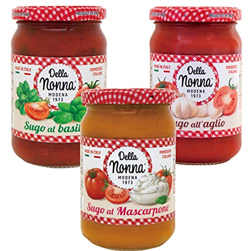 【デラノンナ】パスタソース3種セット トマト&バジル・トマト&マスカルポーネ・トマト&ガーリック(イタリア産トマト使用・イタリア直輸入)