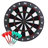Theefun Dart Board, 16 Inch Rubber Safety Dartboard Set with 6pcs Soft Tip Darts, Indoor Outdoor Dart Game Toys Gifts for Kids and Adults, Party, Office and Family Leisure Sport