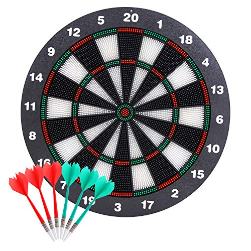 Theefun Safety Dart Board Set -16 Inch Rubber Dartboard Game with 6 Soft Tip Darts, for Kids and Adults, Party, Office and Family Leisure Sport Toys