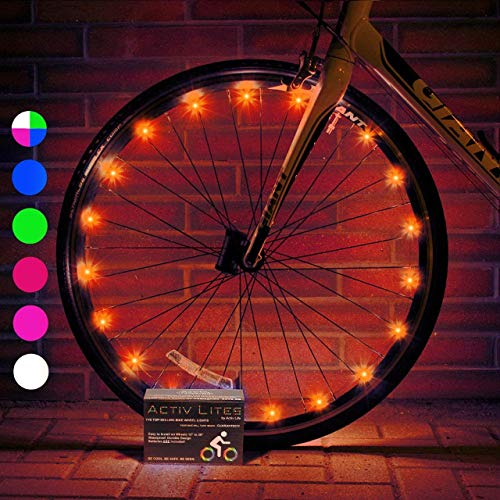 Activ Life LED Bike Wheel Lights (1 Tire, Orange) Top Birthday Presents for Girls 3 Year Old + Teens & Women. Best Unique 2020 Xmas Ideas for Her, Wife, Mom, Friend, Sister, Girlfriend and Popular Aun