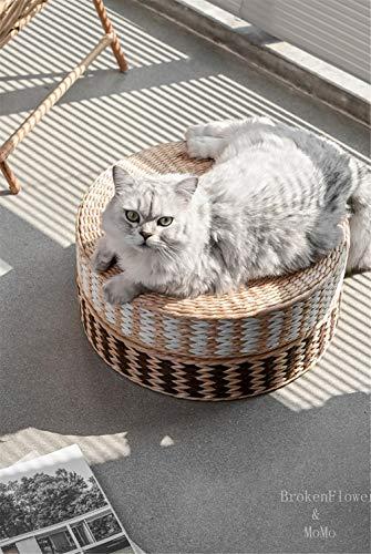 Round Thin Meditation Seat Cushion - Hand Kint Cattail Straw Floor Cushion Filled With High-Elastic Rubber Foam - Garden Seat Pad Round (White)