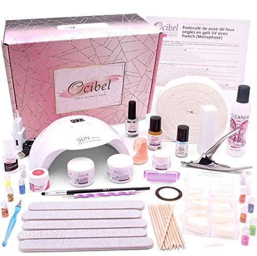 Ocibel - Kit L Démarrage/Etudiant Faux Ongles Manucure Lampe LED/UV 48W Gel Monophase & Nude - Manucure, Faux Ongles et Nail Art