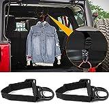2PCS Roll Bar Coat Hanger Clothes Hook for Jeep Wrangler CJ YJ TJ LJ JK JKU JL JLU JT Sports Sahara Freedom Rubicon & Unlimited X 2/4 Door (Black)