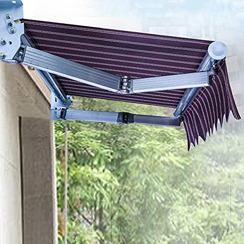 HBIAO Toldos de jardín DIY Patio Toldo Manual retráctil Toldo Parasol de jardín con Accesorios y manivela Rojo,3 * 2m