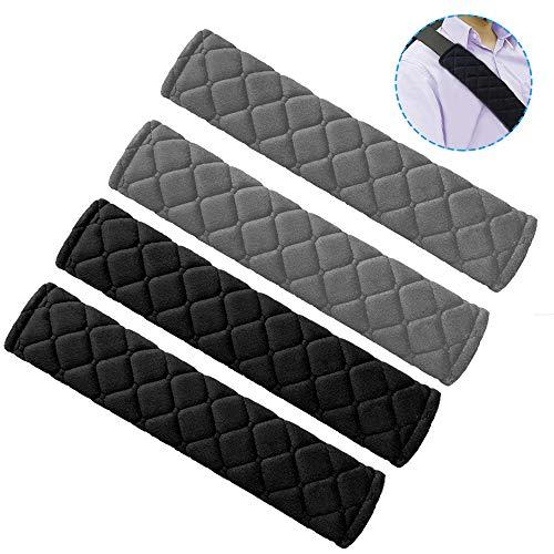 Senhai, 4 imbottiture per cintura di sicurezza, in cotone a quadri, morbide e confortevoli, per bambini e adulti, 2 nere e 2 grigie