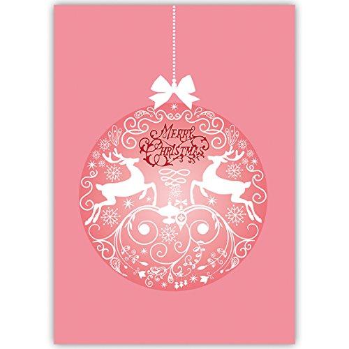 Edele firma-kerstkaarten met hert kerstbal, roze, met hun tekst aan de binnenkant laten printen, in 4-, 20-delige set kerstkaarten, zakelijke partners, medewerkers 20 Weihnachtkarten Blanco binnen.