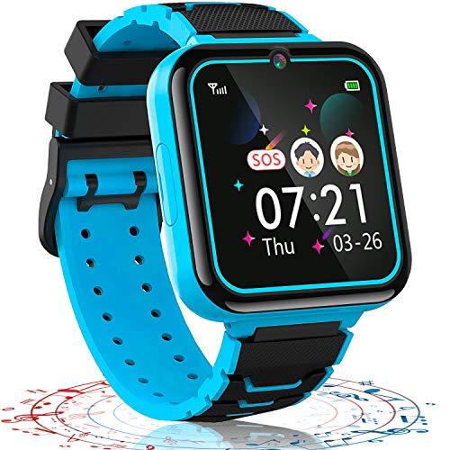 Vannico Reloj Inteligente niño, 12 in 1 Smartwatch para Niños Game Watch 7 Juegos SOS Llamada Música Cámara Grabadora para 3-12 Niño Niña, Soporta 4G/2G Tarjetas Micro SIM (Azul)