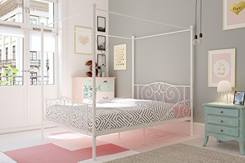DHP Metal Canopy Bed with Sturdy Bed Frame - Full Size (White)