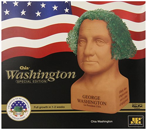 Chia Pet George Washington with Seed Pack, Decorative Pottery Planter, Easy to Do and Fun to Grow, Novelty Gift, Perfect for Any Occasion