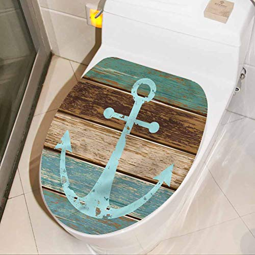 Funny Art Mural Anchor, Anchor on Wood Planks 3D Wall Stickers Self Adhesive for Home Living Room Bedroom Kitchen 8 x 11 Inch