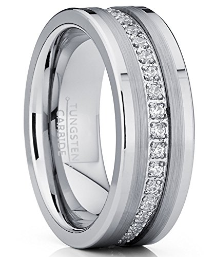 Metal Masters Co. Tungsten Carbide Wedding Band Eternity Ring, Cubic Zirconia Inlay Comfort Fit 8mm 10