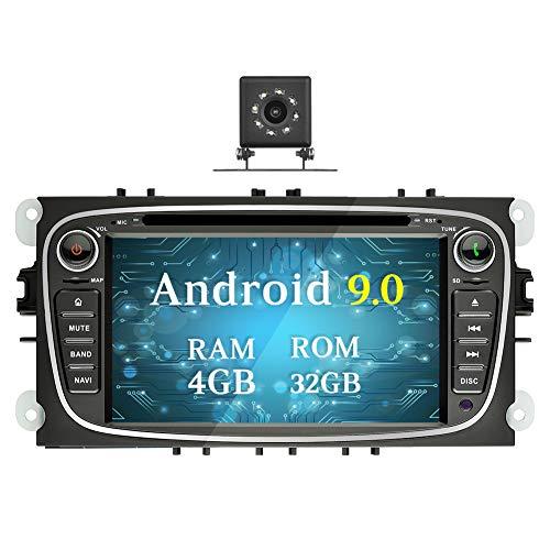 Ohok 7 Zoll Bildschirm 2 Din Autoradio Android 9.0 Pie Octa Core 4G+32G Radio mit Navi Moniceiver DVD GPS Navigation Unterstützt Bluetooth WLAN DAB+ für Ford Focus Schwarz mit Klein-Rückfahrkamera