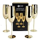 OS Oak & Steel ENGLAND 4 Goldene Sektgläser aus Edelstahl - Metall Sektkelche Geschenkset