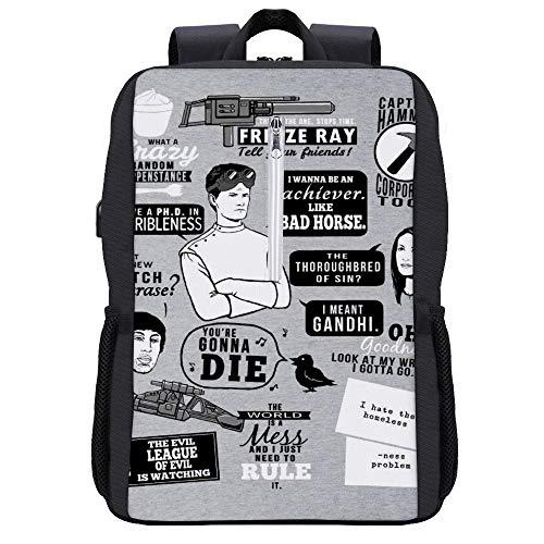 Horrible Quotes Dr Horribles Sing Through Blog Mochila Daypack Bookbag Laptop School Bag con puerto de carga USB