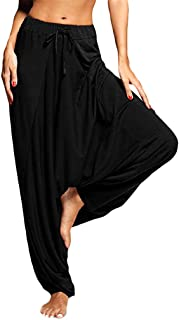 Sunhusing Women Solid Color Plus Size Harem Pants Yoga Hanging Pants Ladies Casual Loose Lace-Up Trousers