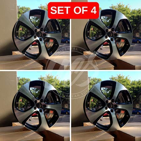 New 16 inch x 7 Wheels Rims GTI Sport Style Black Machined Face 5 Lug Compatible With Volkswagen Rabbit Jetta 5X112 Set Of 4