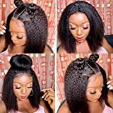 TOOCCI parrucche capelli umani Veri yaki straight wig parrucca donna 4x4 lace front capelli ricci brasiliani vergini wigs human hair kinky straight 14'
