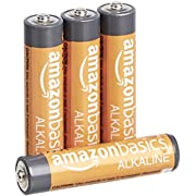 AmazonBasics 4-Count AAA High-Performance Alkaline Batteries, 10-Year Shelf Life, Easy to Open Value Pack