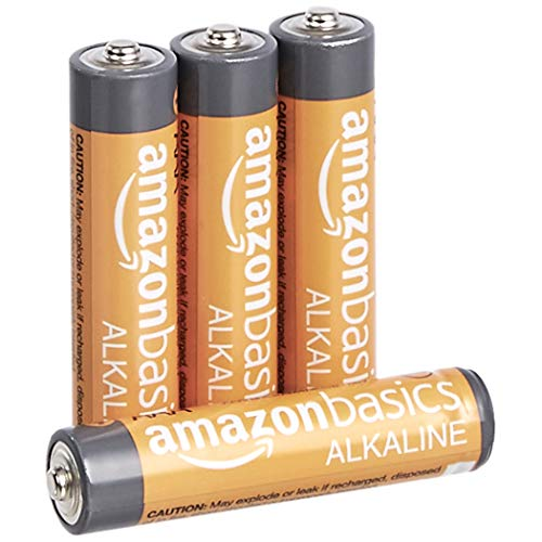 Amazon Basics 4 Pack AAA High-Performance Alkaline Batteries, 10-Year Shelf Life, Easy to Open Value Pack