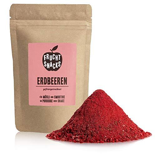 Erdbeer Fruchtpulver – 100% Erdbeerpulver gefriergetrocknet und gemahlen, Erdbeere Pulver vegan und ohne Zucker Zusatz, 100g