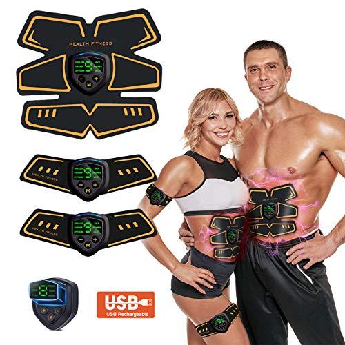 WARDBES EMS Muskelstimulator, ABS Bauchtrainer Trainingsgerät, Professional Bauch Muskel Trainer Elektrisch für Herren Damen, Abnehmen und Muskeln aufbauen, Tragbarer Muskel Trainer