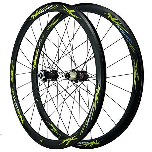 SJHFG Ciclismo Wheels 29'',Llanta MTB de Doble Pared 24 Hoyos Freno de Disco Freno V Volante de 7-12 Velocidades 700C Ruedas para Bicicleta (Color : Green)
