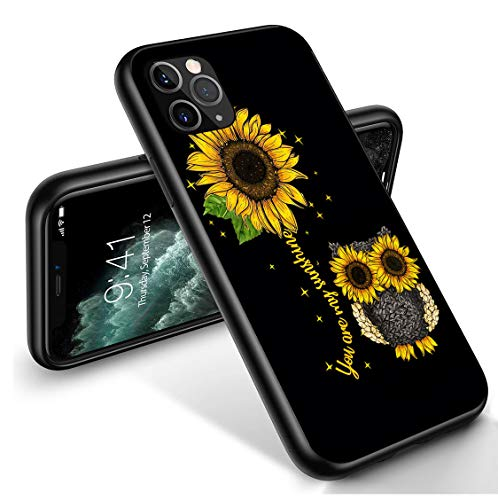 iPhone 11 Pro Max Case, Liquid Soft Silicone Shock Absorber Bumper Cover for iPhone 11 Pro Max 6.5 inch 2019, Sunflower Owl You are My Sunshine