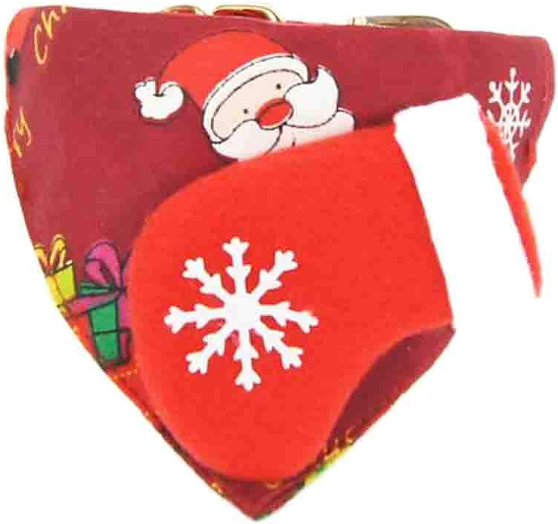 Herohua Merry Reindeer Christmas Design Dog Collar, Neck 8 12 , Adjustable Collar Dogs Cats Puppy, Red