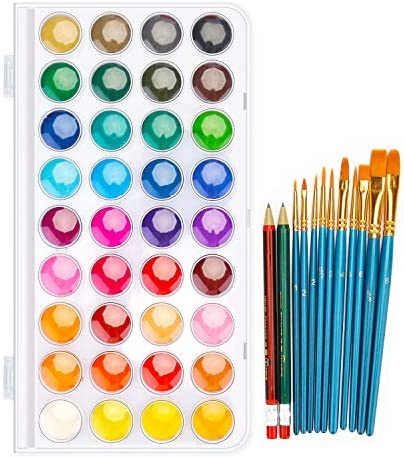 36 Colors Watercolor Paint Set with 12 Brushes FUBARBAR Water Color Art Painting Drawing Supplies product image
