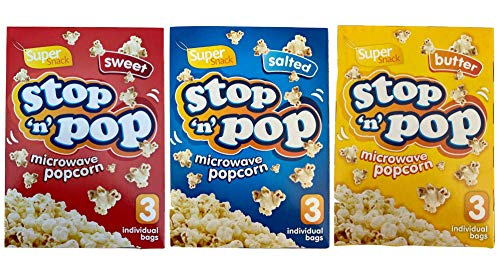 Super Snack Stop 'n' Pop Microwave Popcorn Party Film Night Set - Butter,...