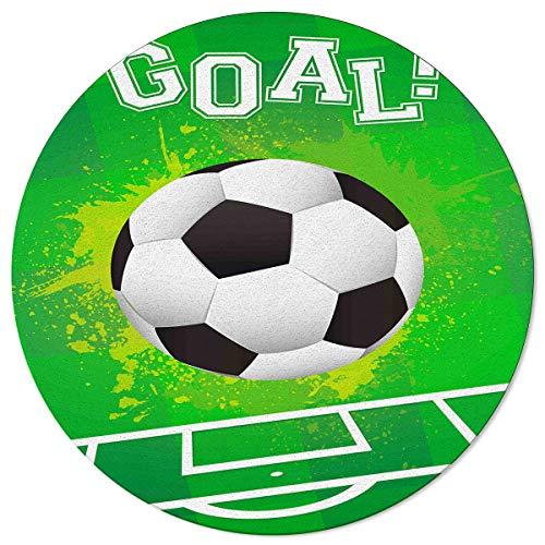 SunnyM Tapis Rond imprimé But de Football en 3D. Tapis de Yoga Doux pour intérieur/Salon/Chambre/Salle de Jeu/Cuisine avec Dos en Caoutchouc antidérapant, Football207491, 6