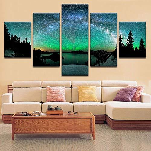 Hängende Bilder 5 sätze von leinwand Spray Painting nordlichter nachtansicht Wand Baby raumdekoration zu Hause