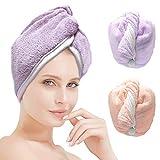ACCGLORY Toalla turbante de secado rápido para el cabello, toallas de ducha de microfibra superabsorbentes para el pelo suave, 2 unidades, turbante grande, secado rápido, envoltura de pelo