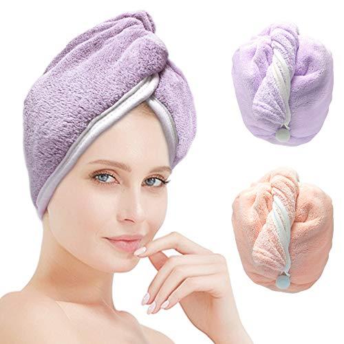 ACCGLORY Haarturban Schnelltrocknend Handtuch für Haar,Super Saugfähig Microfaser Duschtücher Sanft Haar,2 Stück Groß Turban Die Haare Schnelltrocknend,Schnell Trocknen Haartuchwickel